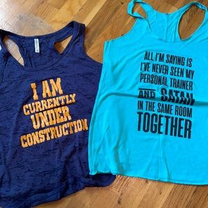 EUC funny workout tanks! Lot of 2!